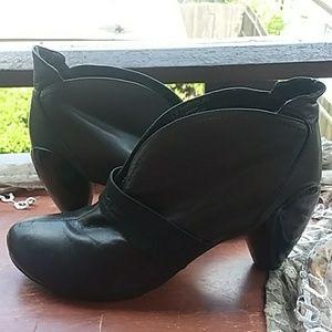 JUMP for the PEOPLE BRASH black heeled booties